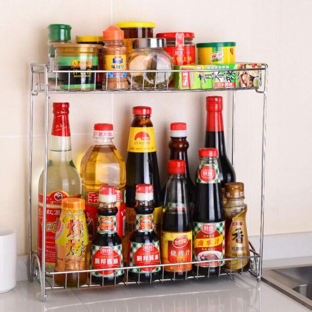Home Supplies Double Layer Storage Rack Kitchen Spices Jar Metal Shelf Organizer