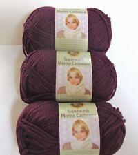 Lion Brand Yarn Superwash Merino Cashmere, Purple #189 Wine, 3 Skeins 261 Yards