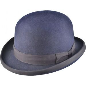 Clothing Men's Clothing Wool Hand Made Quality Round Top Hard Bowler Hat in Blue with Satin Lining