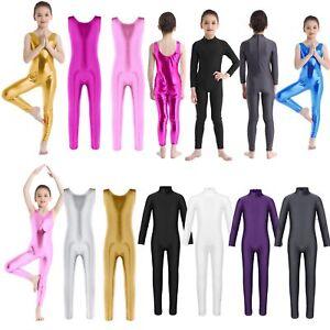 Girls-Long-Sleeve-Ballet-Dance-Gymnastics-Catsuit-Kids-Shiny-Bodysuits-Dancewear