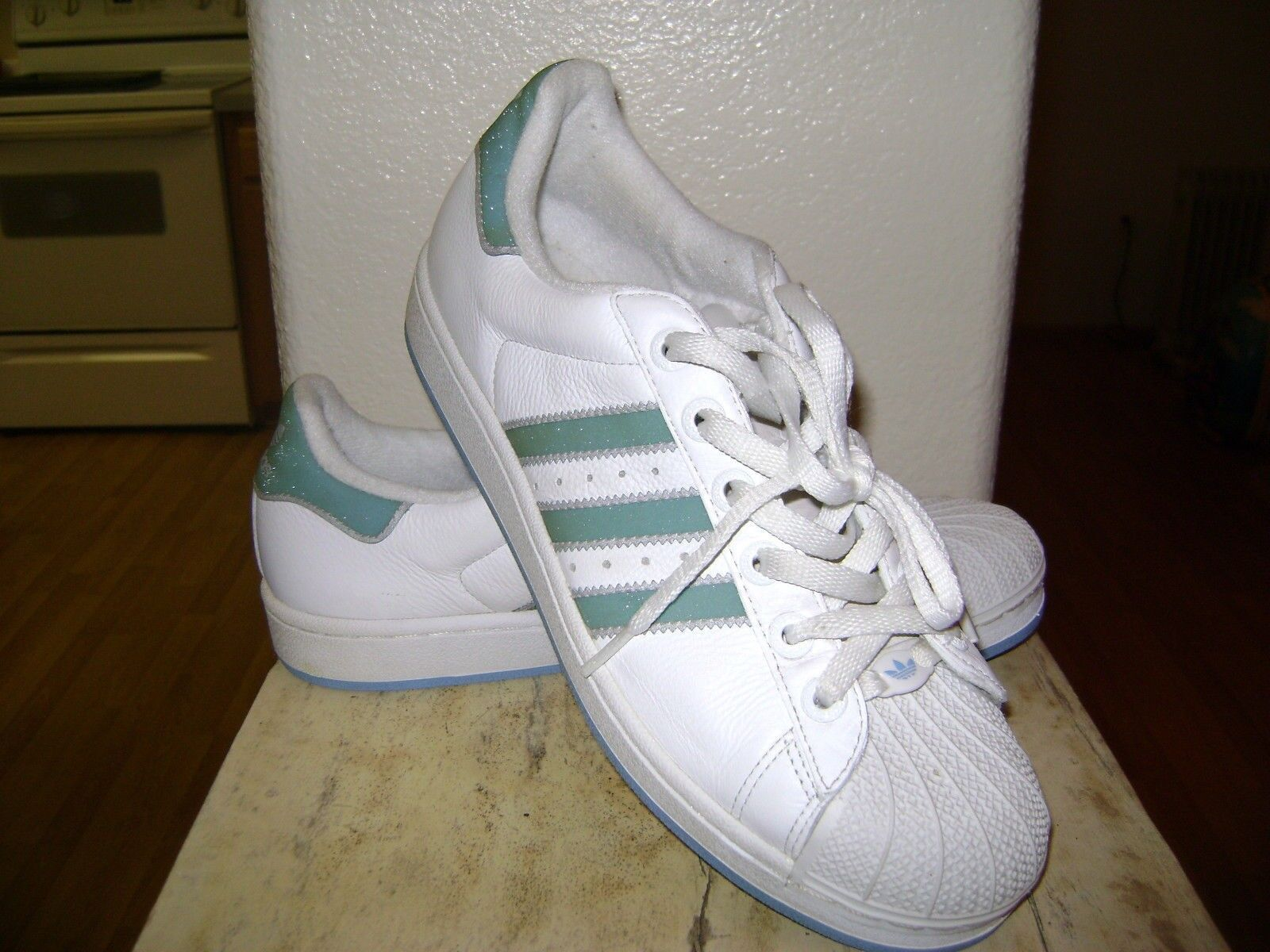 Zapatillas Adidas Originals Superstar para mujer Blanco / purpurina verde menta Zapatillas 9 1/2