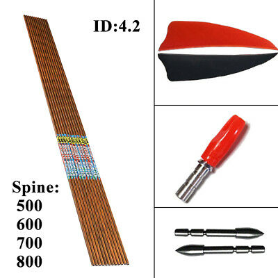 12PCS Archery Carbon Arrows Shaft ID4.2 SP600 Wood Skin Bow Hunting Shooting