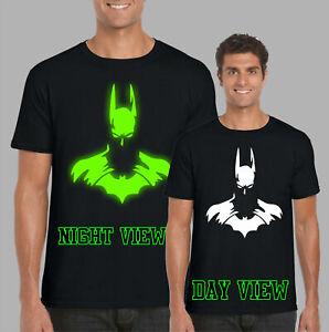 Batman-Glow-in-the-Dark-T-shirt-DC-COMICS-SuperHeros-cadeaux-enfants-amp-adultes-TOP