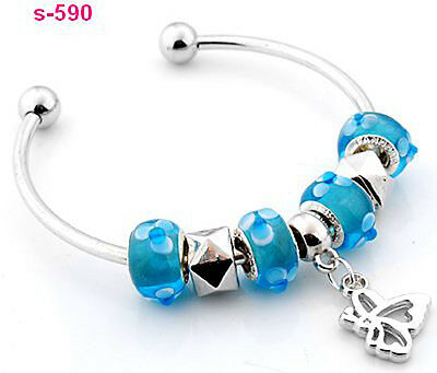 1pc new handmade silver plated charm cuff bracelet fit European beads s-590