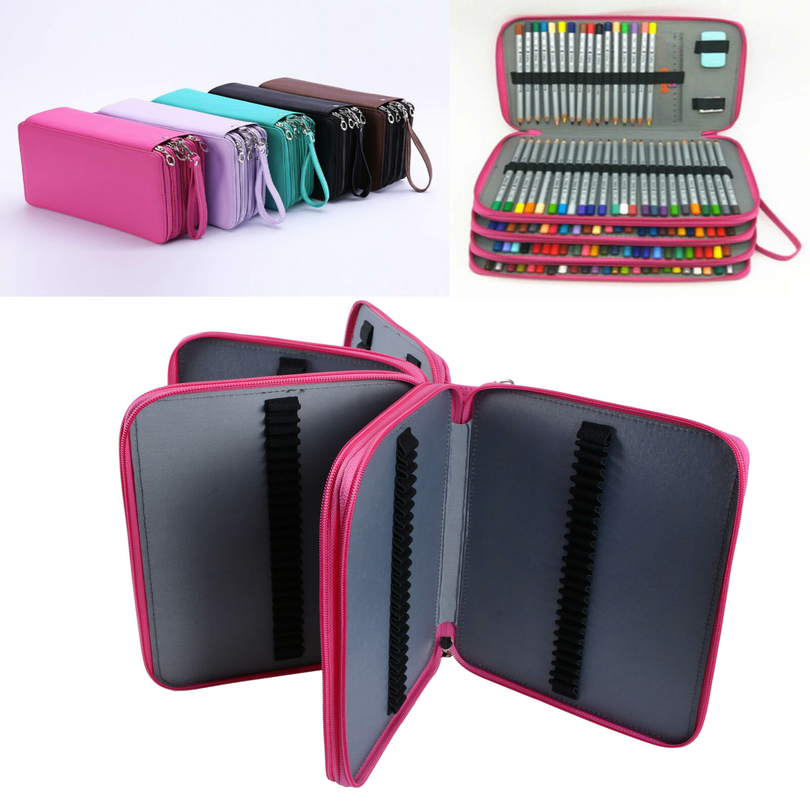 184 Slots Large Pencil Case Pen Bag Organizer Colored Foldable Storage Capacity