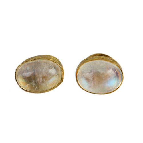 Moonstone Fine Small Stud Earrings Gemstone Solid Pave 14K White Gold Jewelry