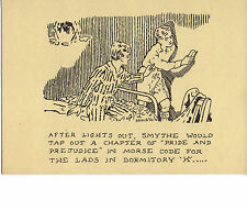 Glen Baxter artist's postcard; AFTER LIGHTS OUT. SMYTHE WOULD TAP OUT A CHAPTER.
