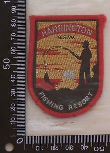 VINTAGE-HARRINGTON-FISHING-RESORT-EMBROIDERED-SOUVENIR-PATCH-WOVEN-SEW-ON-BADGE