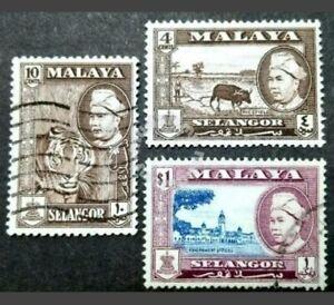 Malaya-1957-Selangor-Sultan-Loose-Set-Up-To-1-3v-Used