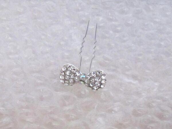 1 Diamante Fiocco Strass Da Sposa/nozze/prom Fermaglio-/prom Hair Pin