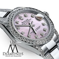 Ladies 26mm SS Rolex Oyster Perpetual Datejust Custom Pink Diamond Dial Accent