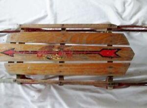 Vintage-Antique-FLEXIBLE-FLYER-46-034-PLANET-JR-Snow-Sled-Wood-Winter-USA-Rustic-R