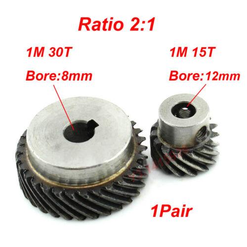 1Pair 1M 30T+15T Metal Helical Wheel Gear 90° Pairing Spiral Bevel Gear Ratio2:1
