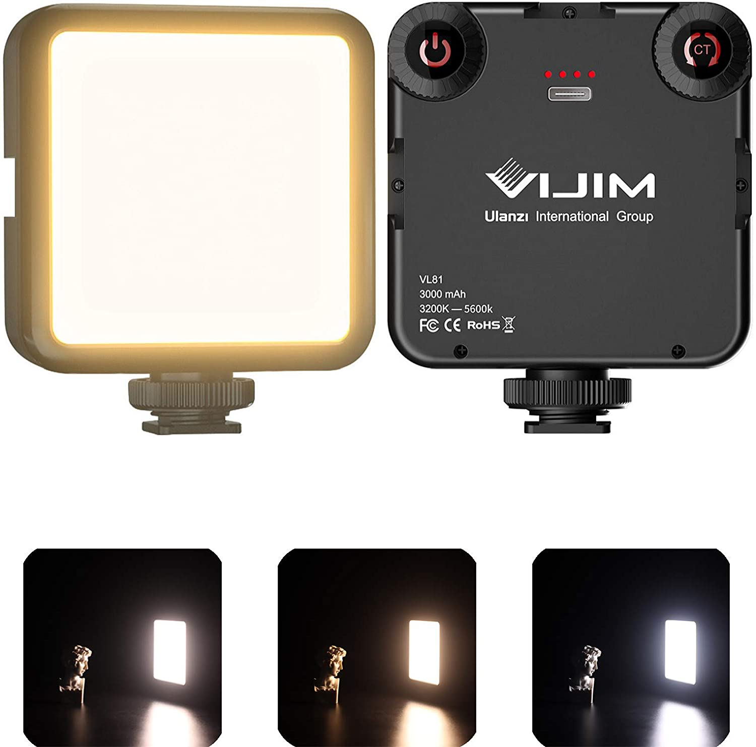 VIJIM LED Video Light, VL81 On Camera Light with 3 Cold Shoe Rechargeable 3000mA