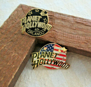 LOT-of-2-PLANET-HOLLYWOOD-Flag-Stars-Stripes-amp-Black-Gold-ORLANDO-Lapel-Hat-PINS