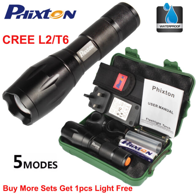 20000LM Phixton X800 XML T6/L2 LED Flashlight Torch Battery Charger Box  Mount