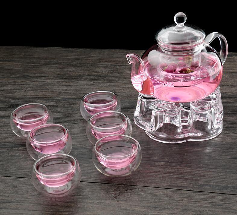 Bgoldsilicate Glass Tea Pot Filtering Tea Maker Teapot With 6 Cups + Warmer Set