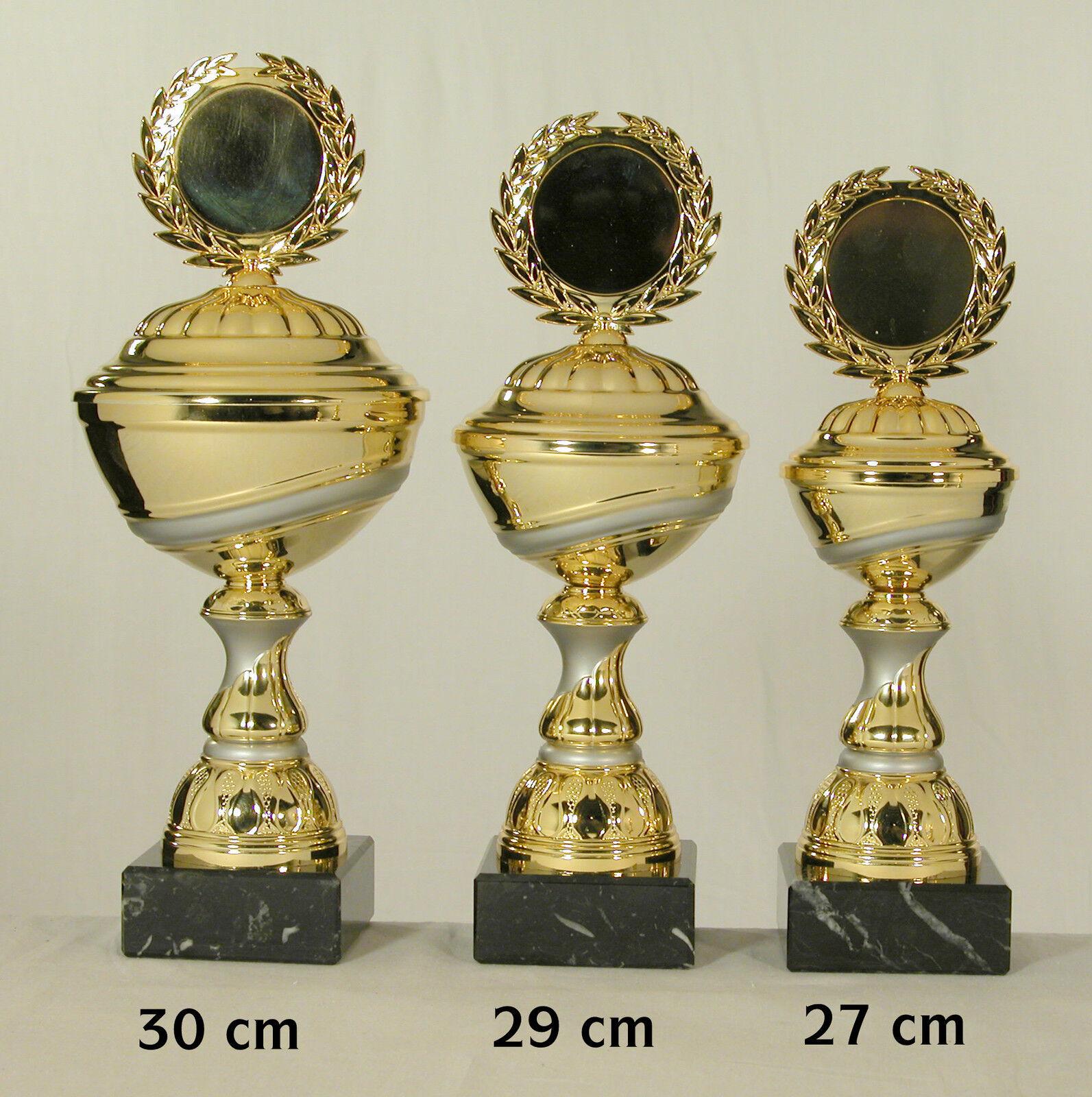 3 Pokale Gold     silberfarben  30 - 29 - 27 cm eischl. Text und Emblem. c8c511