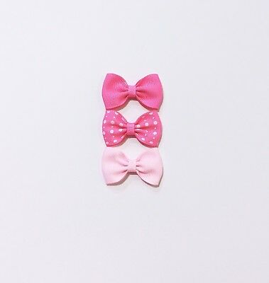 New 3X Mini Signature Bow Baby Bow// Toddler// Girl Hair Clip  HC290