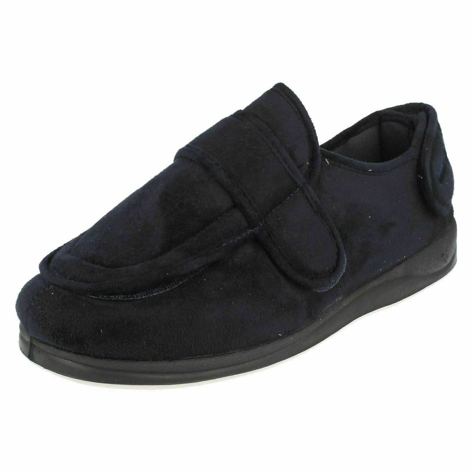 MENS PADDERS WIDE FITTING RIP TAPE SLIPPERS WRAP
