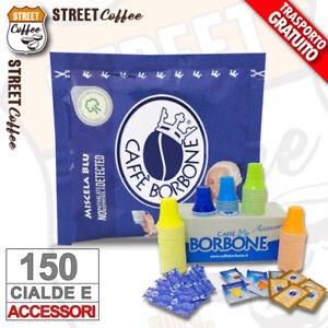 150 Cialde Carta Caffè Borbone Miscela Blu Filtrocarta ESE44 + Kit accessori