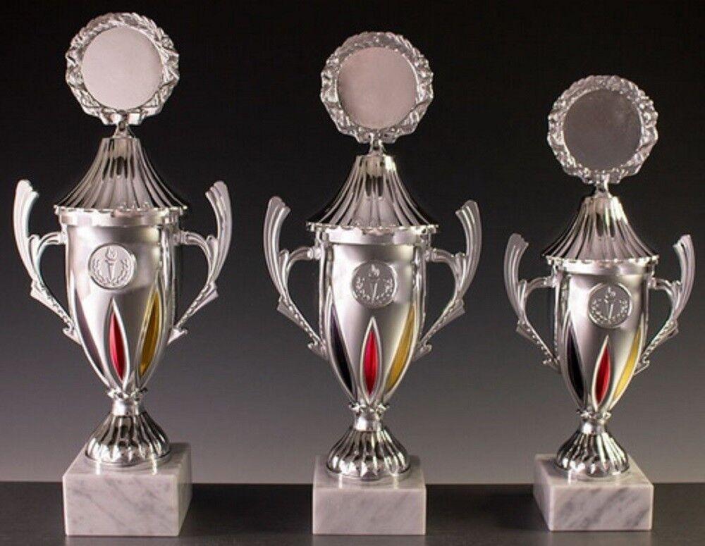 3er-Pokalständer fest verschraubt verschraubt verschraubt silber mit schwarz-rot-Gold Pokale 800457