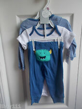 """Carter's Baby 3 Piece Layette Set """"Mommy's Little Monster"""" Size 9 Months NWT"""
