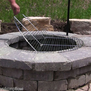 "This folding cooking grate will allow you easy access to your coals or logs without removing the entire grate. Durable and simple to clean. 24"" diameter cooking grate. 30"" diameter cooking grate. 36"" diameter cooking grate. 
