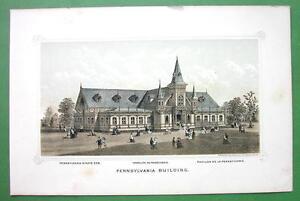PHILADELPHIA-Exhibition-Pennsylvania-Building-1876-Original-Lithograph-Print