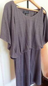Robert-Rodriguez-Grey-Black-Solid-KIMONO-Sleeve-Elastic-Waist-Dress-Size-8