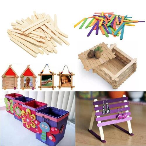 Utile 50 pcs en bois Popsicle sticks pour fête enfants À faire soi-même Crafts Ice Cream Making