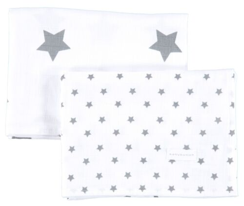 Set Mulltücher Spucktücher Tuch Sterne Weiß Grau NEU! Bellybutton® 2 teil