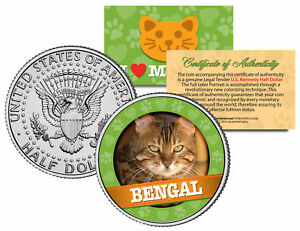 BENGAL-Cat-JFK-Kennedy-Half-Dollar-US-Colorized-Coin