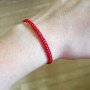 Handmade-RED-Fair-Trade-Friendship-Thai-Mens-Cotton-Buddhist-WRISTBAND-Wristwear