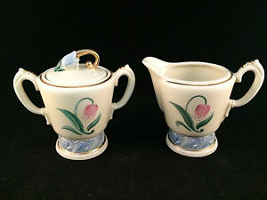Floral-White-with-Gold-Trim-Sugar-Bowl-amp-Creamer-Set