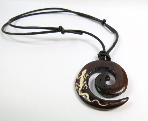 Un collar de estilo surfista collar madera unisex hombres cadena beach el lagarto espiral nuevo