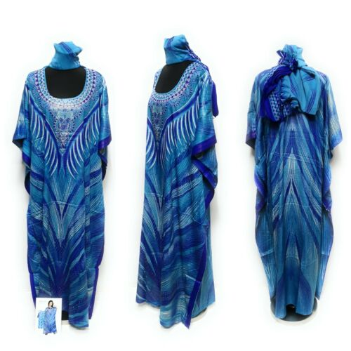 Libre Taille Kaftan Tunique Holiday Dress Beach Cover Up Fits 14,16,18,20,22,24