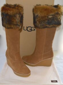 870da5bc1d3c New  350 UGG Valberg Chestnut Brown Suede Tall Wedge Boots Sheepskin ...