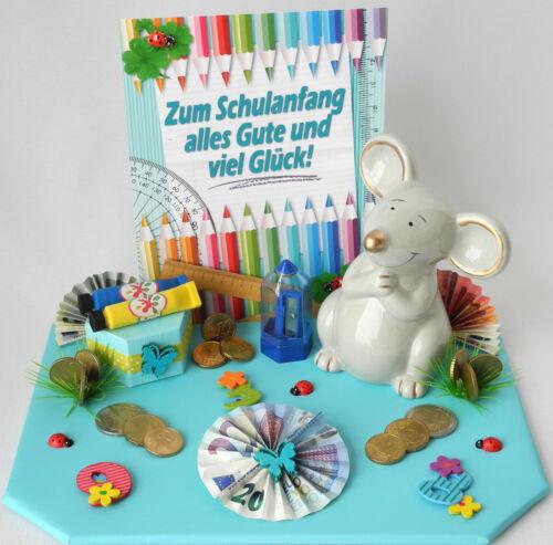 Geschenk versch.Farben Spardose Maus Geldgeschenk Einschulung Schulanfang