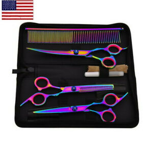Salon-Hair-Cutting-Professional-Thinning-Barber-Shears-Scissors-Hairdressing-Set