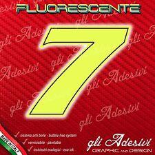 Adesivo Stickers NUMERO 7 moto auto cross gara Giallo FLUORESCENTE 5 cm