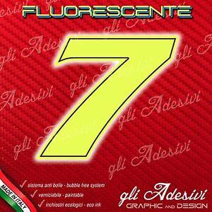 Adesivo Stickers NUMERO 1 moto auto cross gara Verde FLUORESCENTE 10 cm