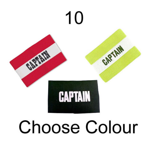 WHOLESALE 10 X SENIOR CAPTAIN Armband Mens Football Sports Black White Job Lot