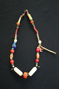 ANTIQUE-amp-VINTAGE-ETHNIC-HAND-PIECED-NECKLACE-CHINA-TIBET-AFRICA-22-INCH-L