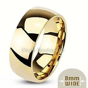Men-039-s-8mm-Wide-14k-Gold-Plated-Classic-Comfort-Fit-Wedding-Ring-Band