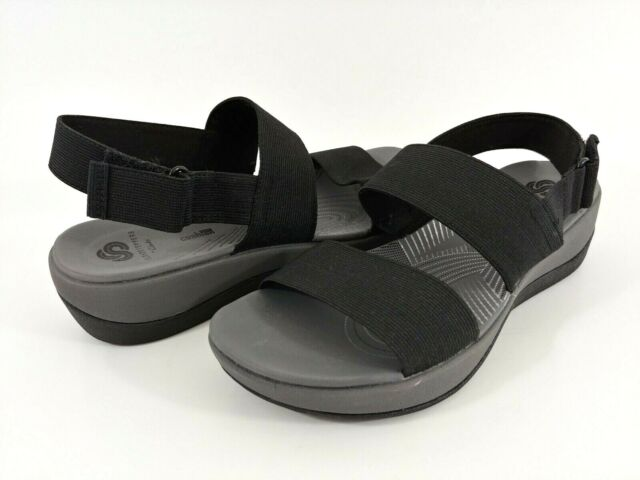 Clarks Cloudsteppers Arla Jacory Women's 7M Black Strap Slingback Wedge Sandals