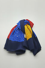 """*GIVENCHY* VINTAGE RED YELLOW AND BLUE POLKA DOT SILK SCARF 30"""""""