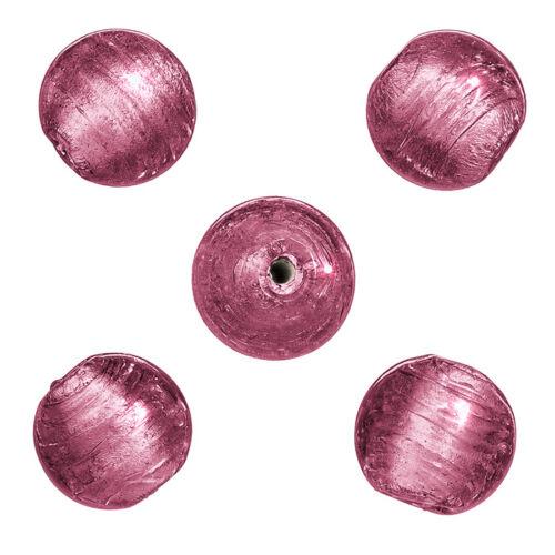 P28//1 Argent Rond doublé fait main perles de verre ROSE 13 mm pack de 5