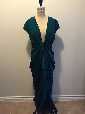 Catherine Malandrino Emerald Green Silk Satin Gown Long Dress 1940s Sz 12 NWT