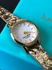 Kate Spade NY KSW1011 Tiny Metro Gold Glitz Leather Strap Watch Mother of Pearl